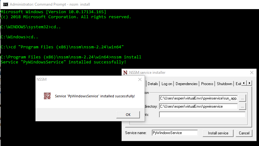 pywinservice, running a simple Python script as a windows